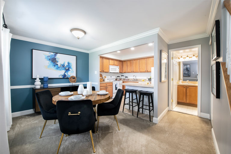 Interior dinning & kitchen area in Townline Townhome in Blue Bell, PA